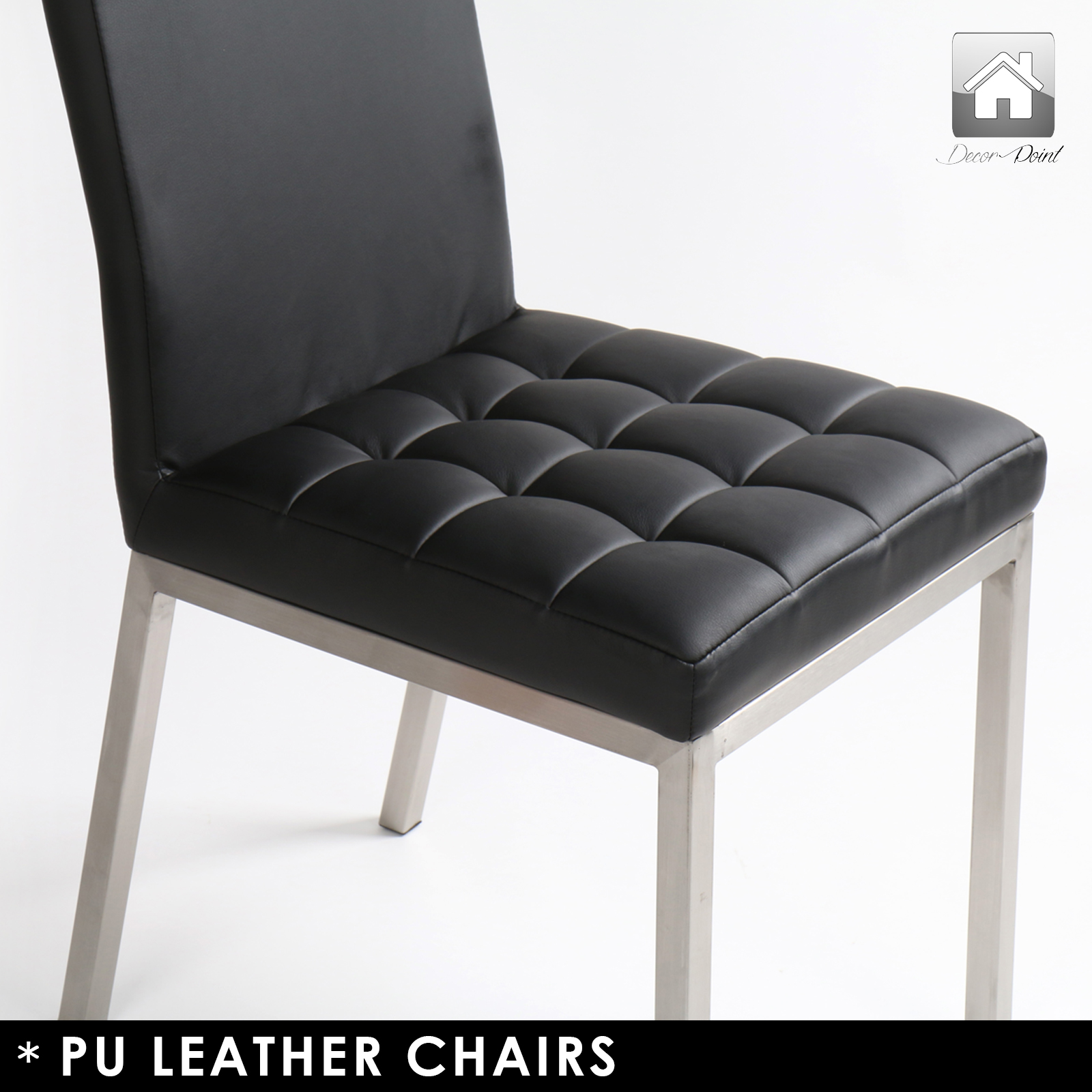 dining chairs with stainless steel legs swivel tub 4 x new luxury shanghai pu leather