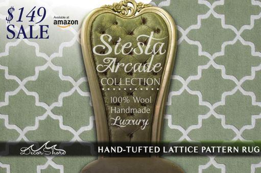 Hand Tufted Lattice Pattern Rug - Siesta Arcade
