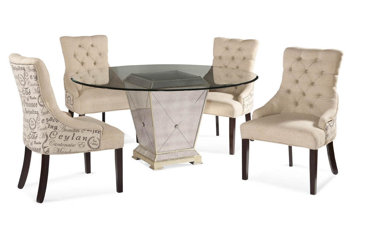 Script Chair Borghese Round Dining Set With Script Chairs Antique Mirror Silver Leaf Finish 8311 000 Aaa Decor South