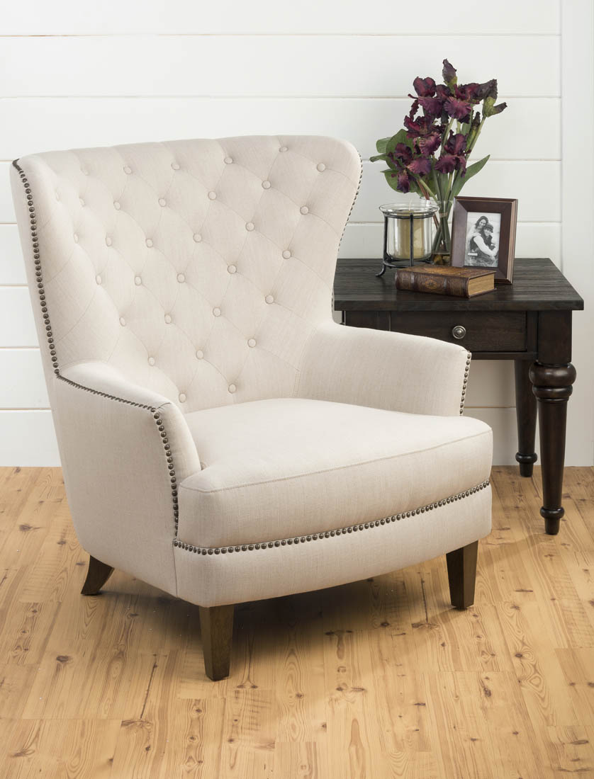 Oversized Wingback Chair Conner Upholstered Tufted Wing Back Accent Chair Natural Conner Ch Natural Decor South