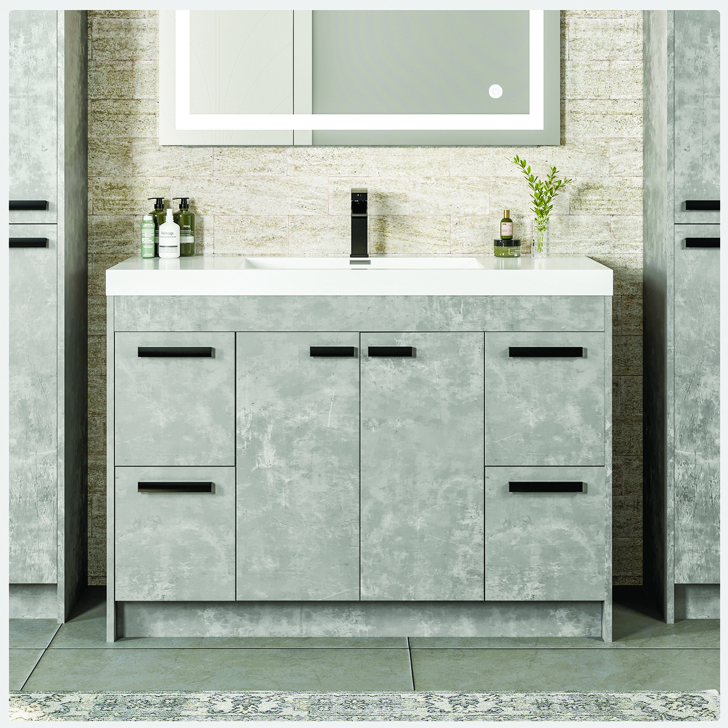 Eviva Lugano 48 Cement Grey Modern Bathroom Vanity With White Integrated Acrylic Sink Decors Us