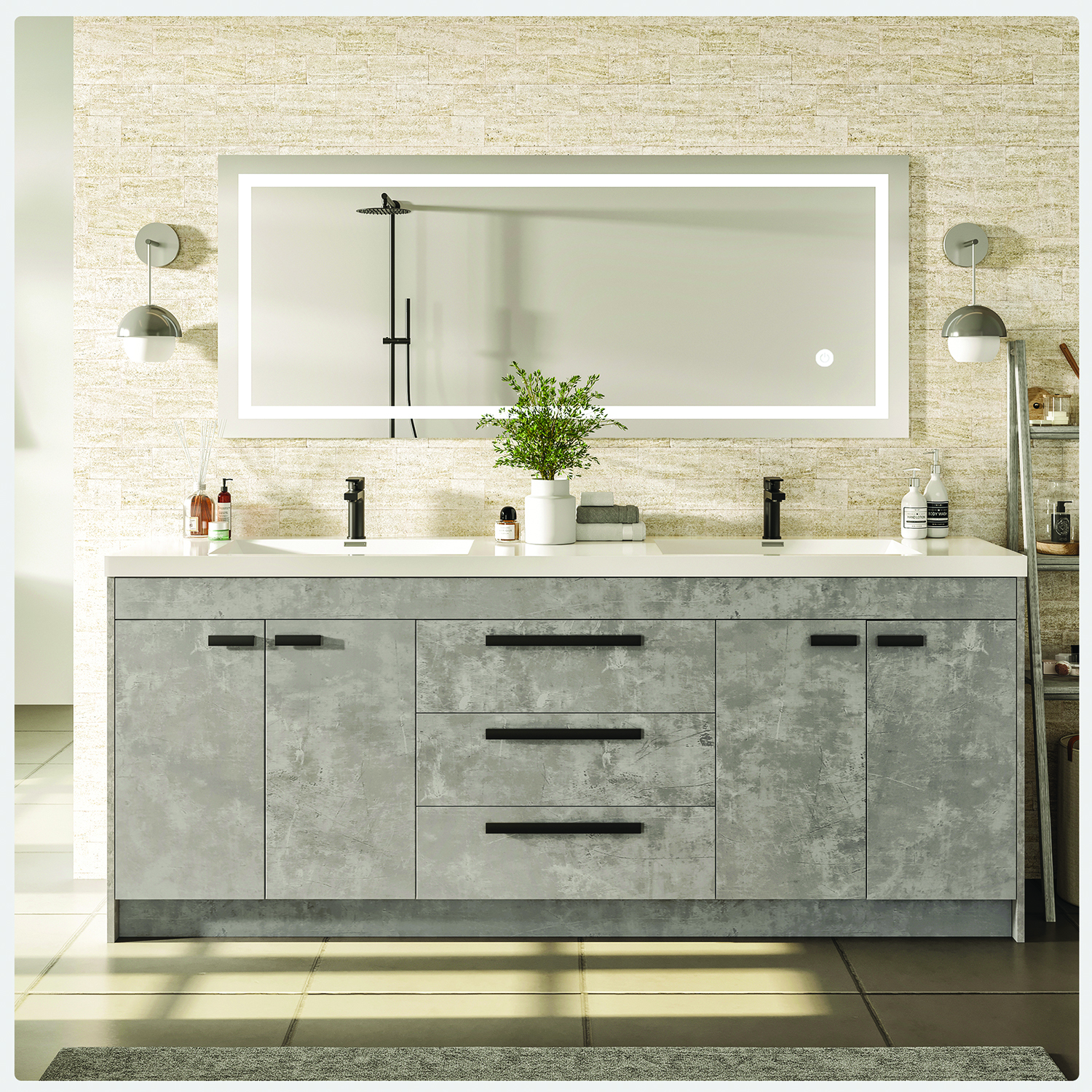 Eviva Lugano 72 Cement Grey Modern Bathroom Vanity With White Integrated Acrylic Sink Decors Us