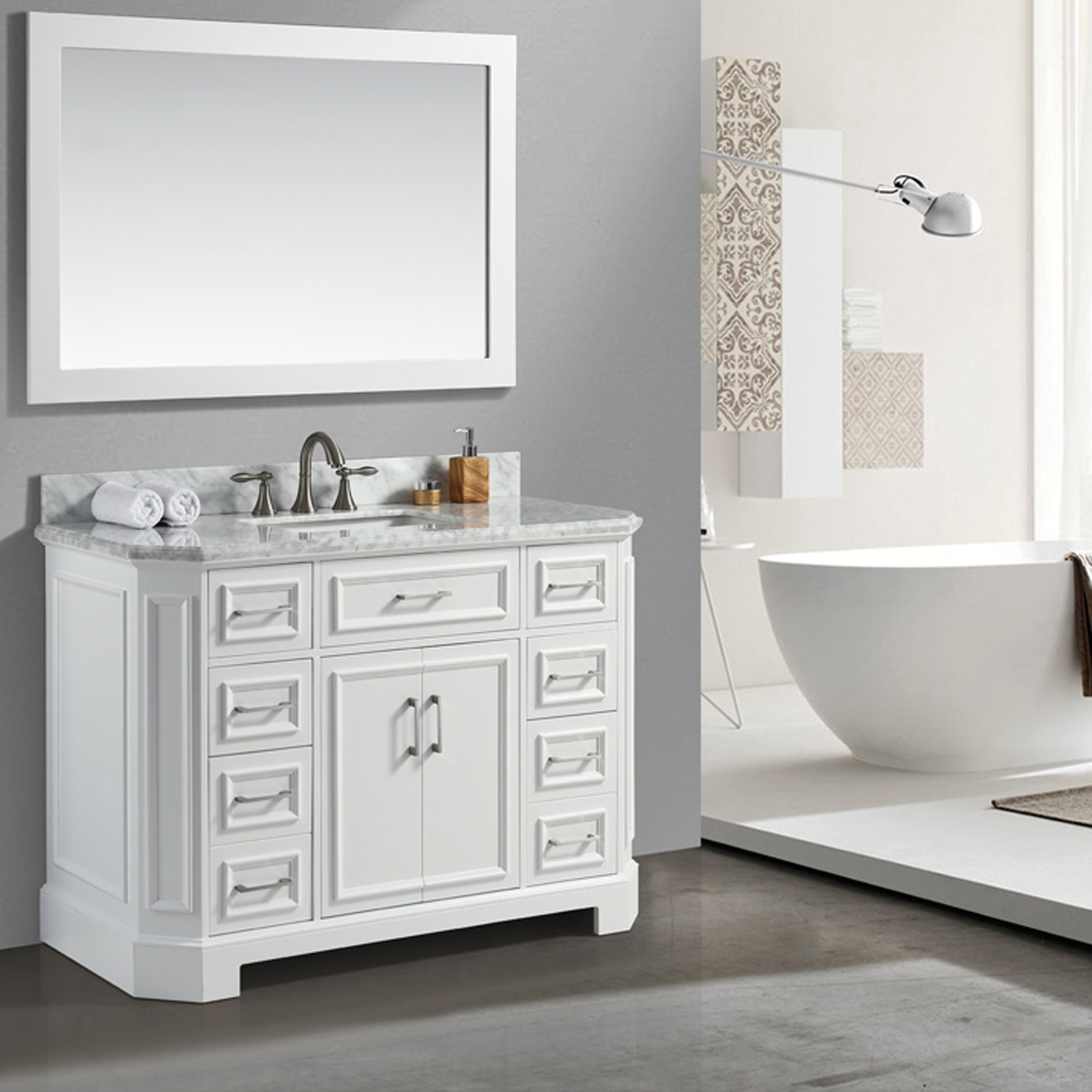 Eviva Glory 48 White Bathroom Vanity With Carrara Marble Counter Top And Porcelain Sink Decors Us