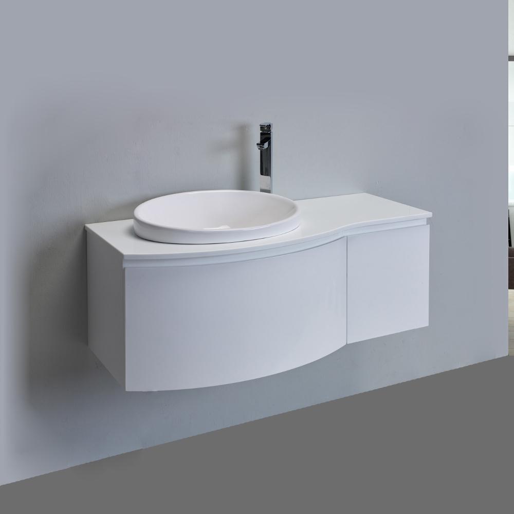Eviva Curvy 48 White Modern Bathroom Vanity Wall Mount