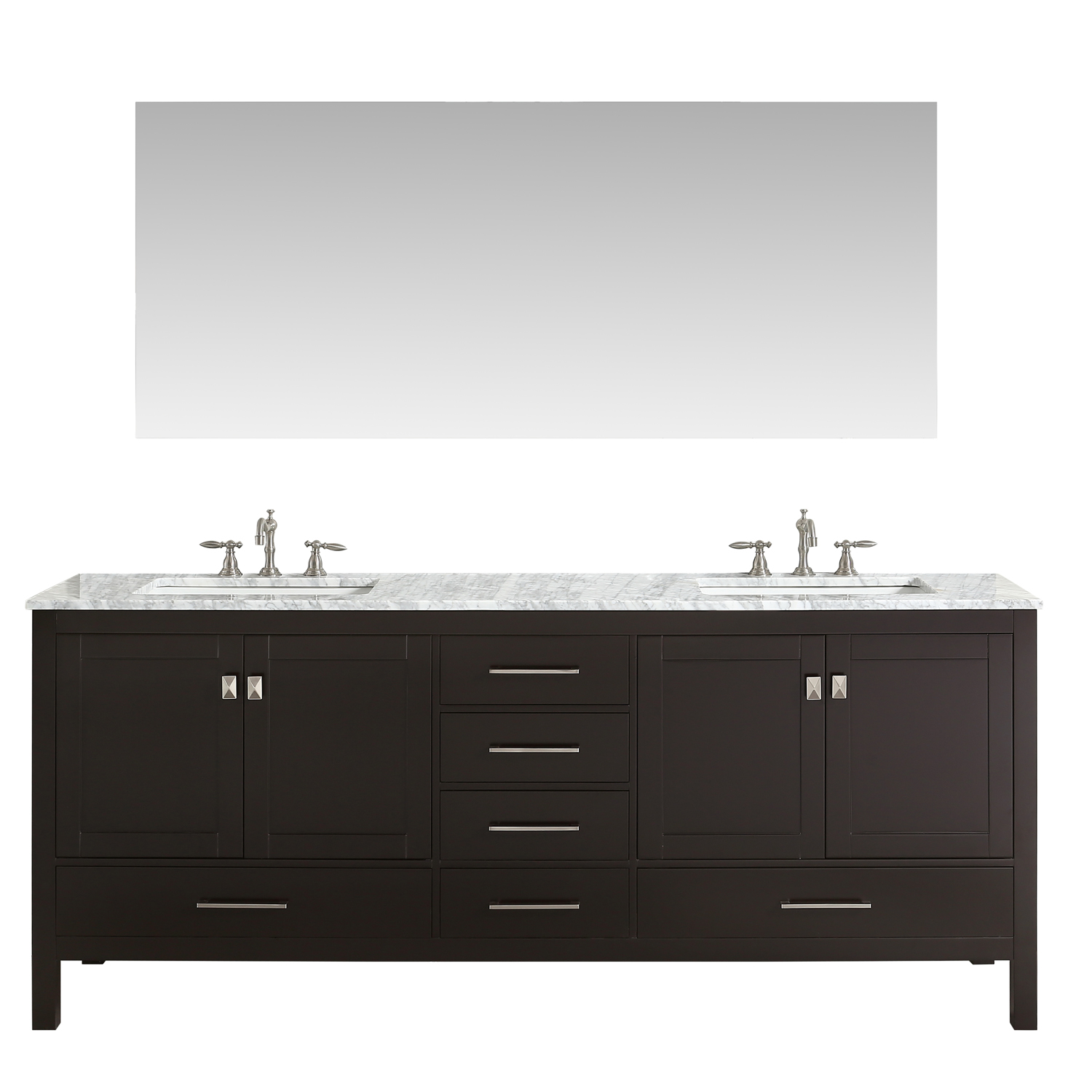 Eviva Aberdeen 84 Transitional Espresso Bathroom Vanity