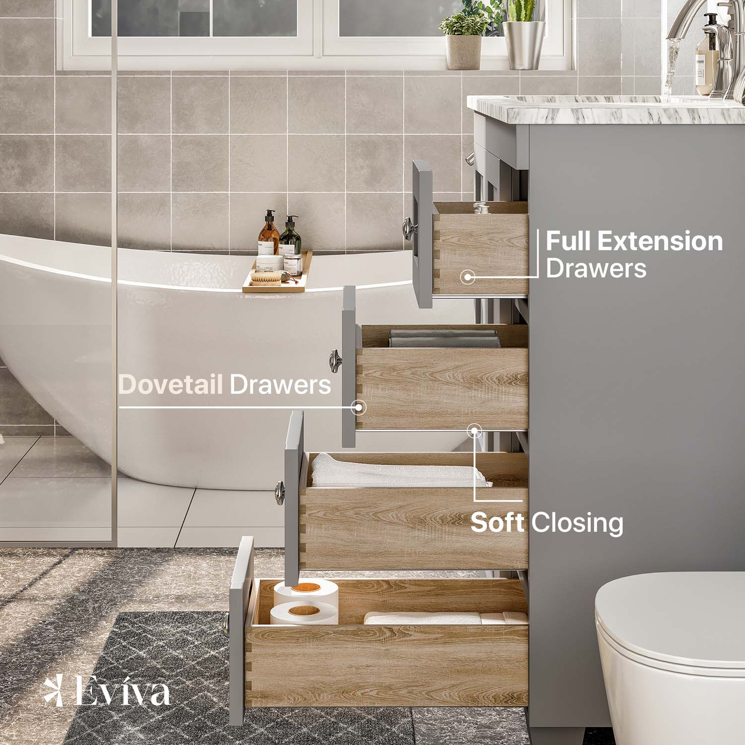 eviva acclaim c 28 transitional grey bathroom vanity with white carrera marble counter top