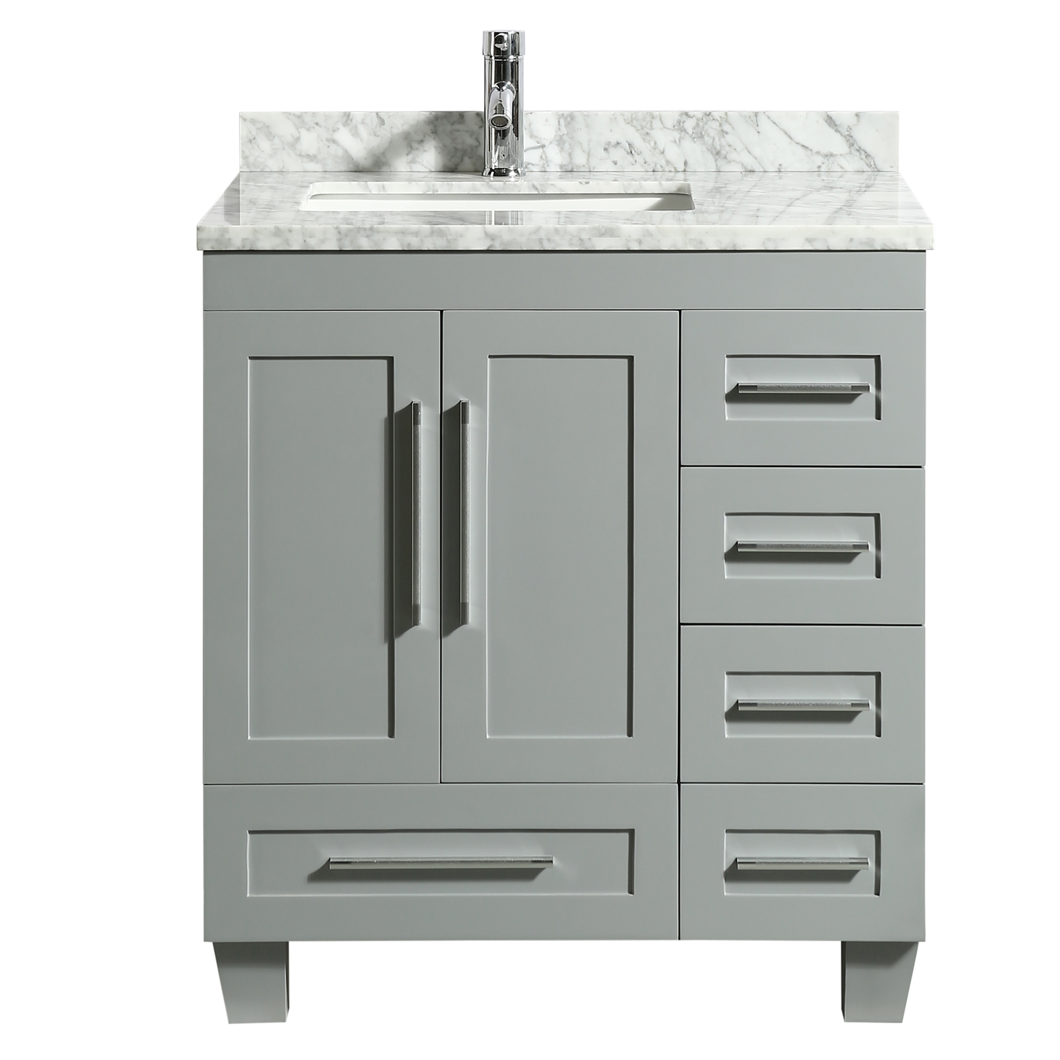 eviva loon 30 long handles acclaim edition transitional gray bathroom vanity with white carrera marble counter top