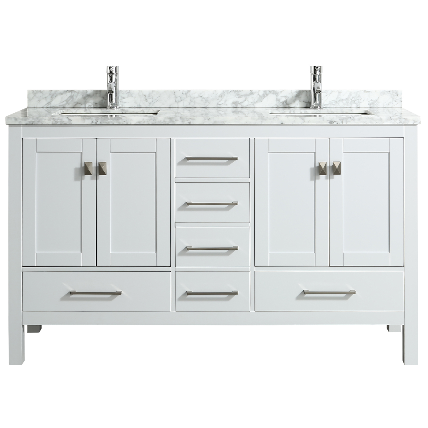 Eviva London 60 X 18 Transitional White Bathroom Vanity With White Carrara Marble And Double Porcelain Sinks Decors Us