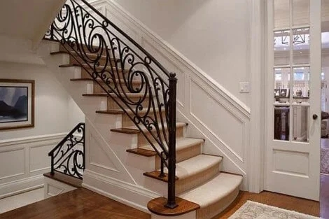 Change Your Stairs With Original Wrought Iron Stair Railings | Interior Iron Stair Railing | Minimalist Simple Stair | Fancy | Staircase | Residential | Stair Outside