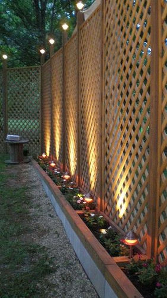 outdoor space with this fence lighting