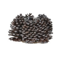 Brown Glitter Pinecone Candleholder