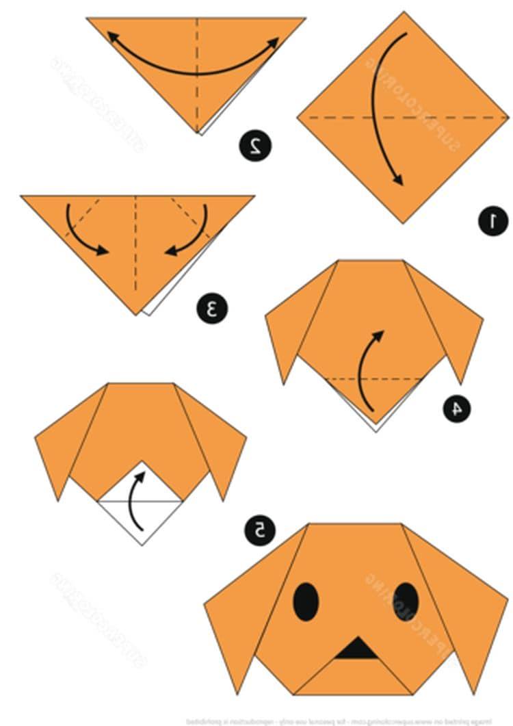 Dog 2 | Origami easy, Origami apple, Origami animals | 1061x750