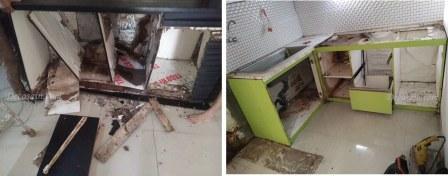 kitchen set kabinet haancur kena rayap & banjir