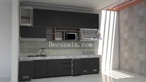 lemari dapur aluminium hitam