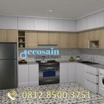 Kitchen Set Aluminium Motif kayu & Warna Putih