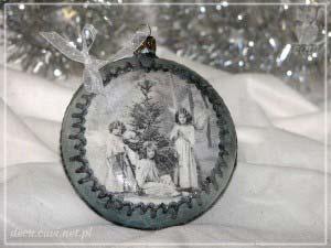bombka medalion dzieci vintage