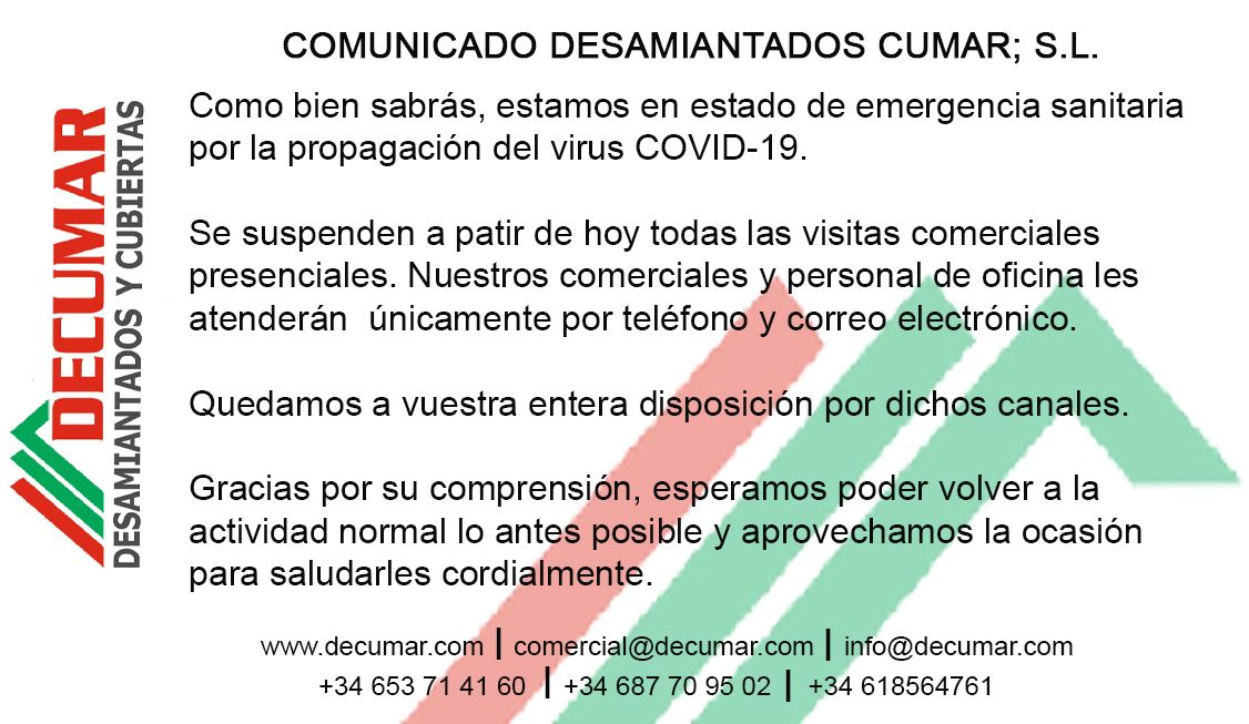comunicado - DECUMAR, SL. Empresa registrada en la retirada y gestión del amianto