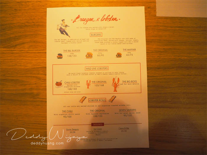 Burger and Lobster Price