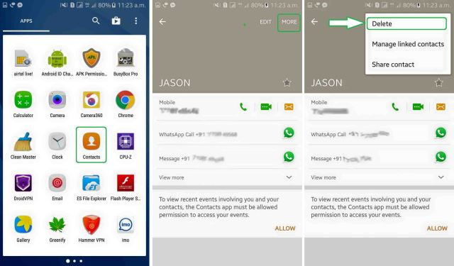 How to delete a block contact from whatsapp?