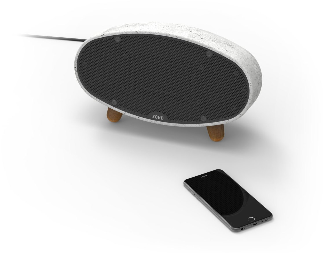 concrete speaker with iphone