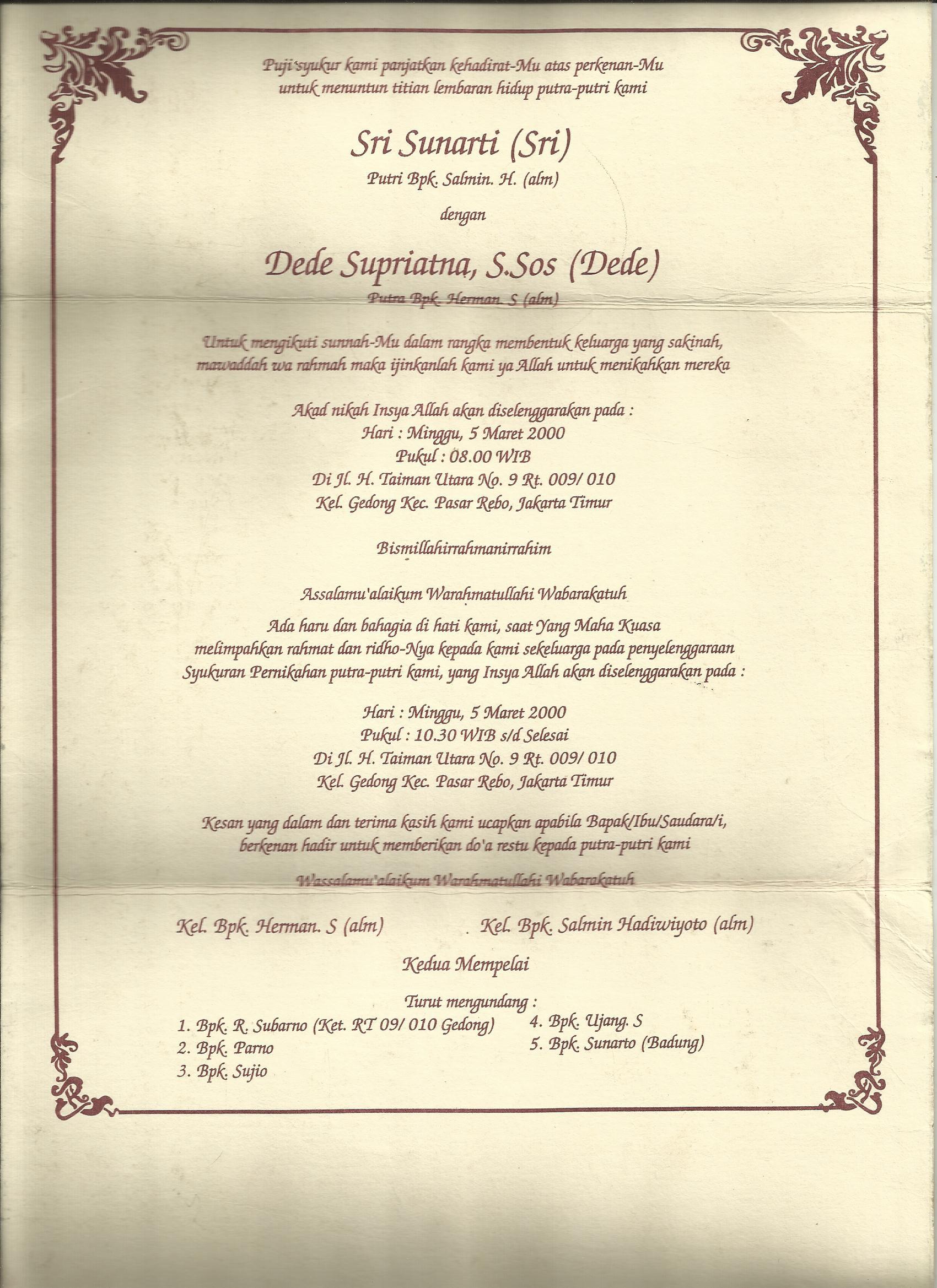 Kata Kata Dalam Undangan Pernikahan : dalam, undangan, pernikahan, Contoh, Tulisan, Surat, Undangan, Pernikahan