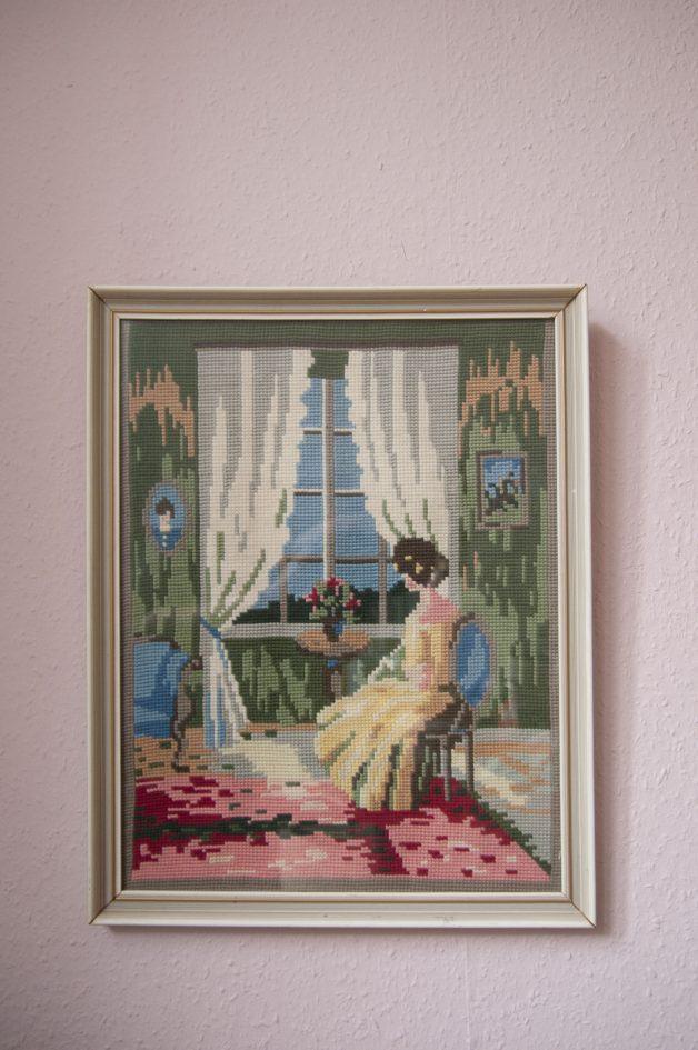 vintage lijst geborduurde vrouw