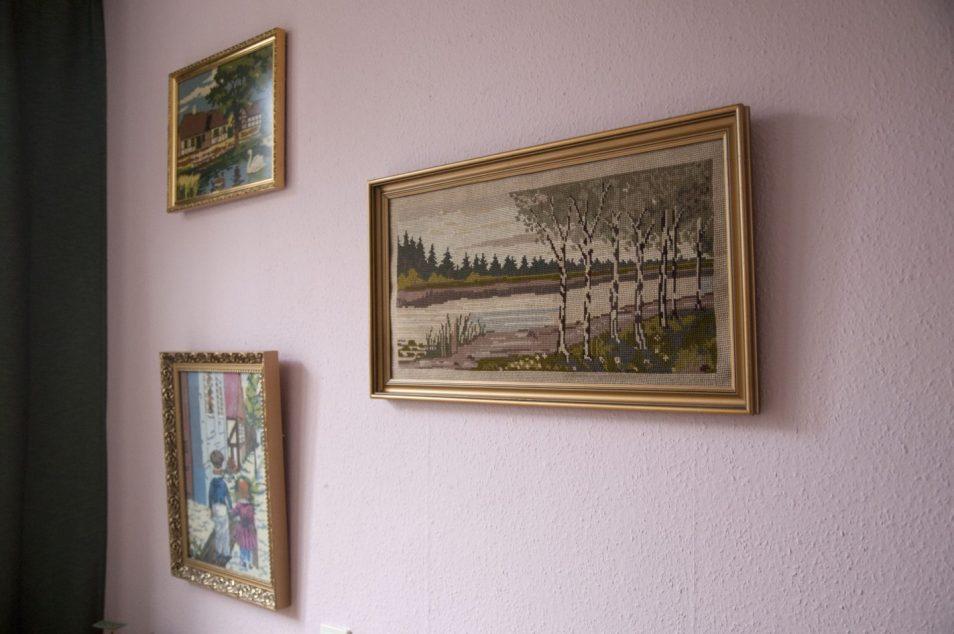 vintage lijst geborduurd landschap