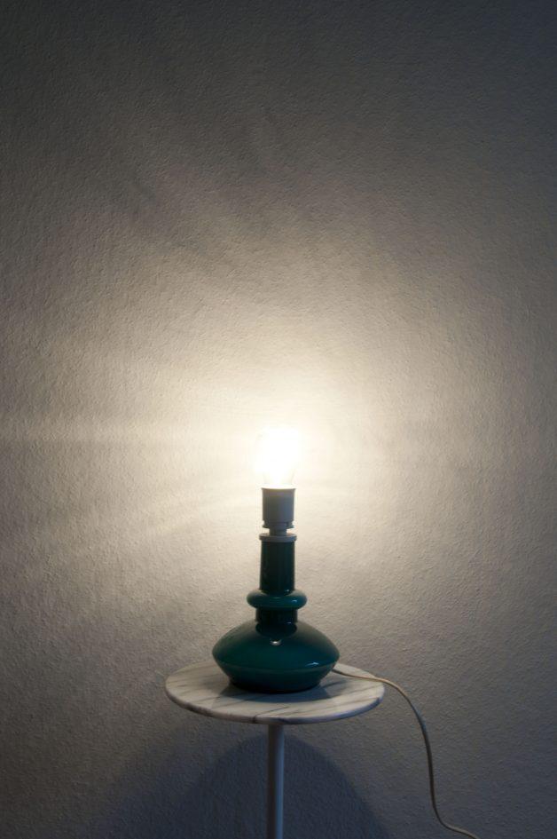 vintage turquoise tafellamp glas