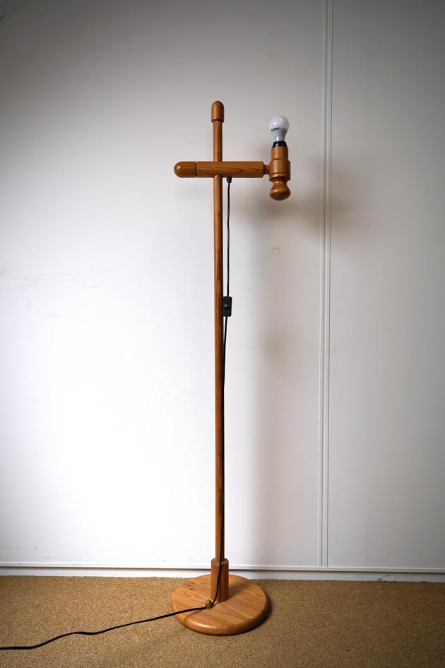 vintage houten vloerlamp