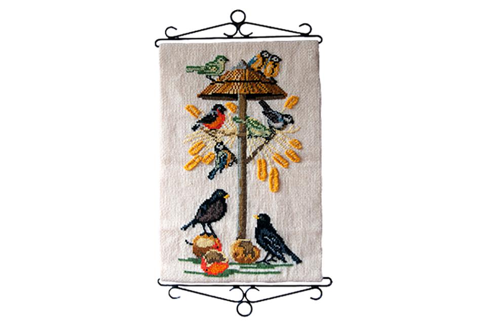 vintage wandkleed geborduurde vogels
