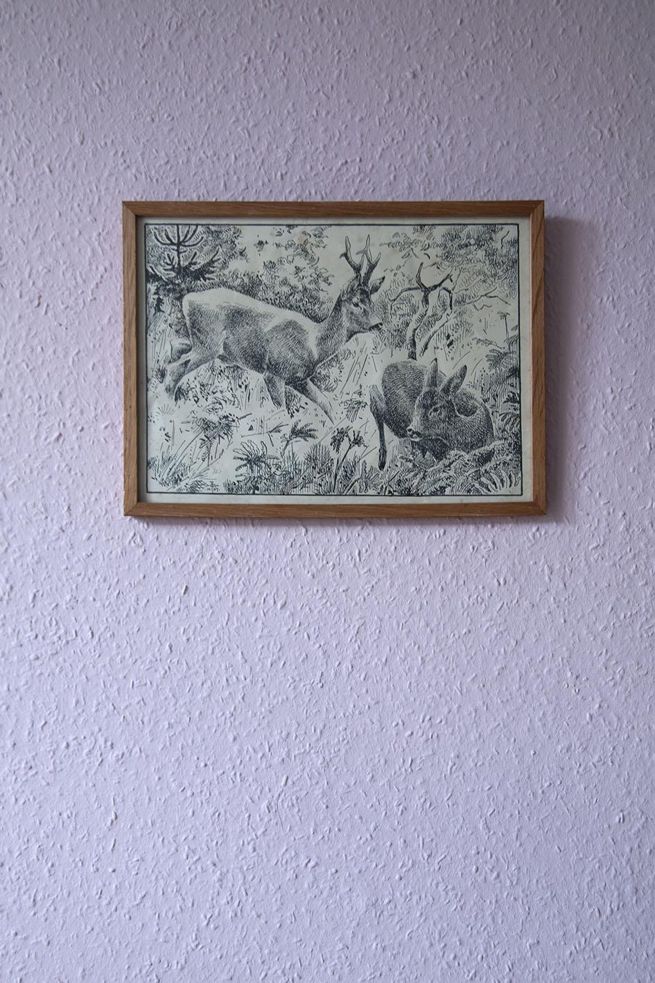 getekende herten vintage lijst