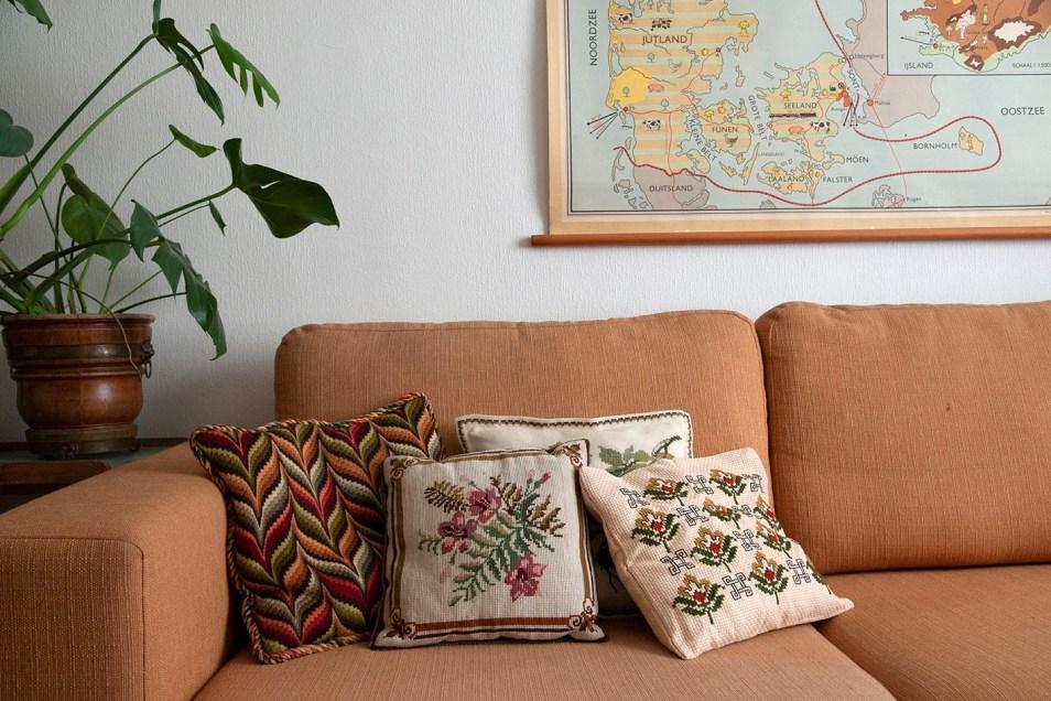 geborduurde kussens deense landkaart