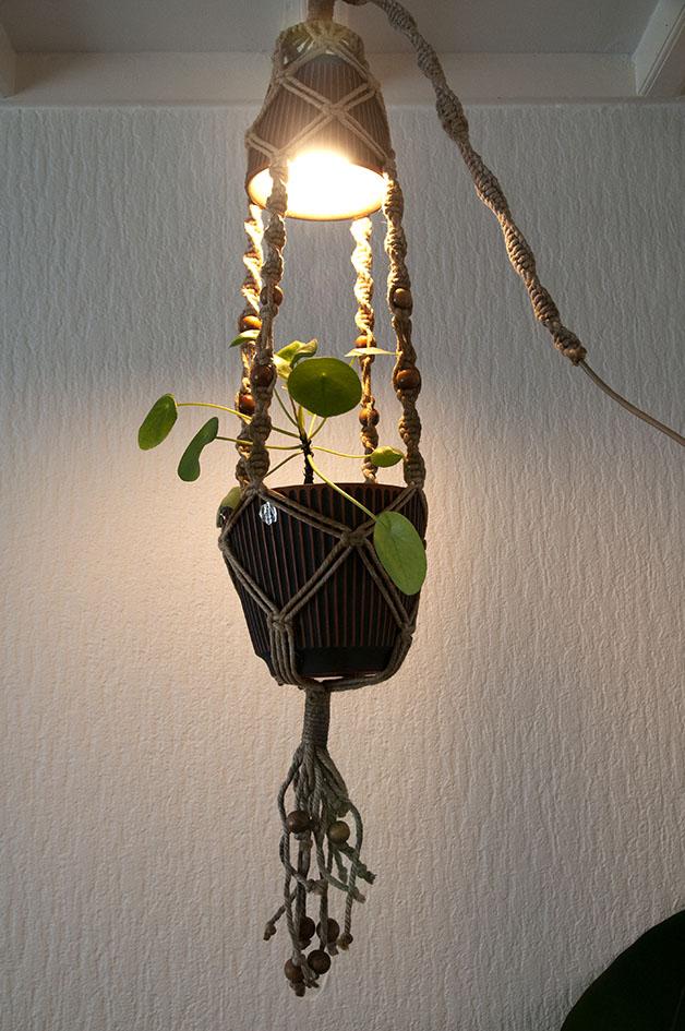 Planten hanglamp met touw