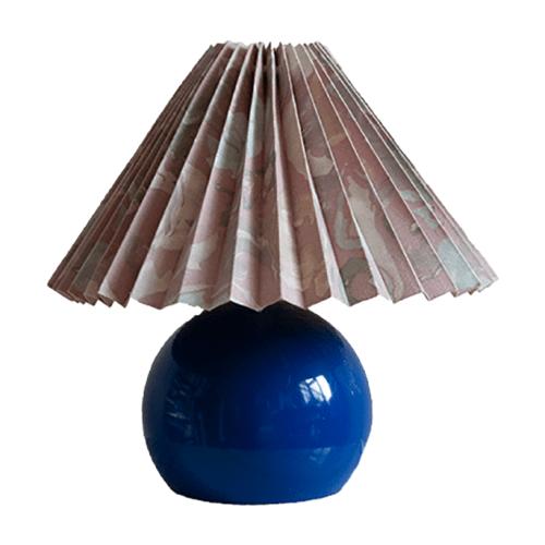 Felblauwe tafellamp vintage bloemenkap