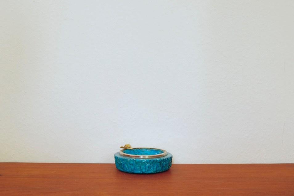 turquoise stenen schaaltje blad