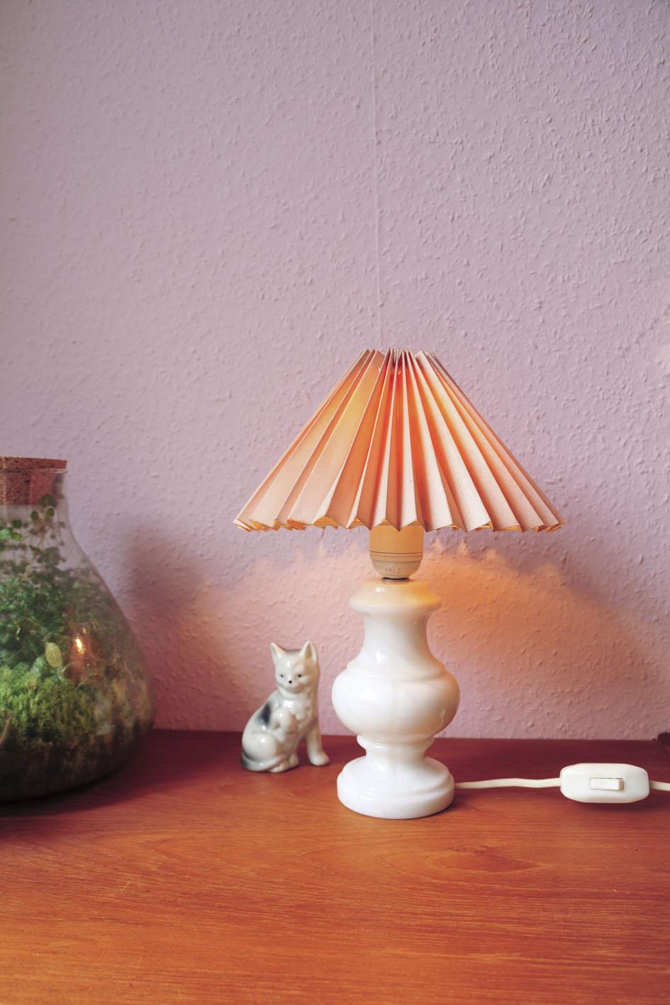 marmeren tafellamp roze kap