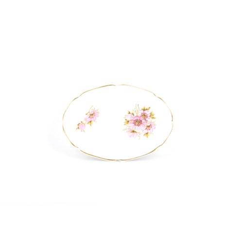 ovaal schaaltje roze bloemen