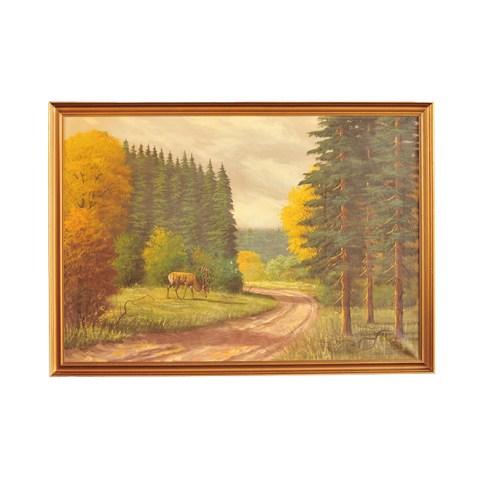 schilderij hert langs weg