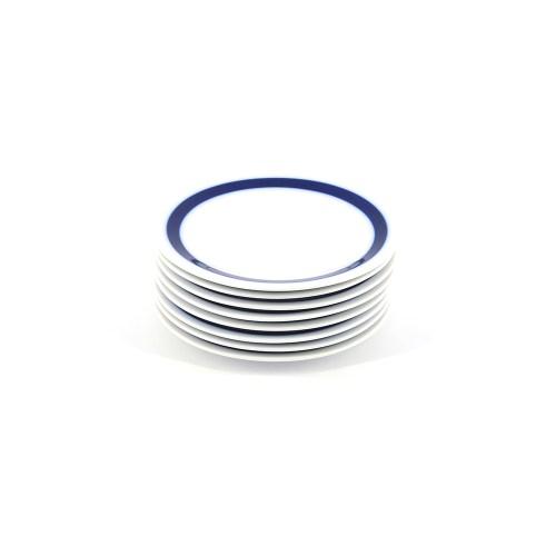 witte gebaksborden blauwe rand