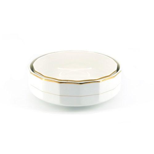 set witte schalen goud x2