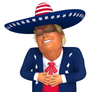 #trumpstickers Big Laugh Mexican Trump 3D Caricature