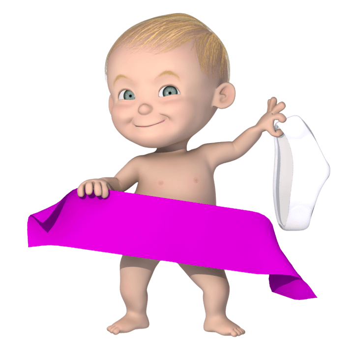 Cartoon baby holding a banner