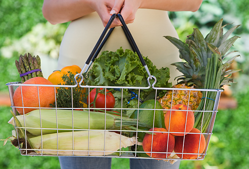 STOCK PHOTO getty_rf_photo_of_fresh_produce_in_grocery_basket
