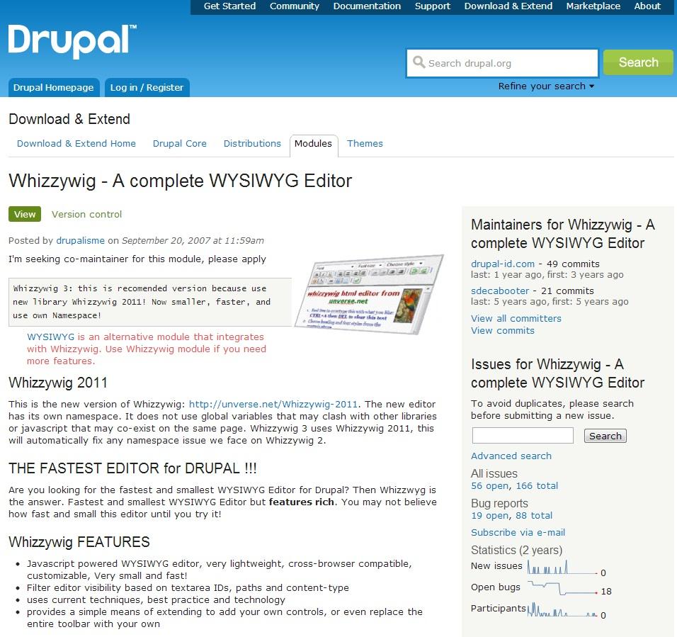 Menggunakan module teks editor whizzywig pada Drupal