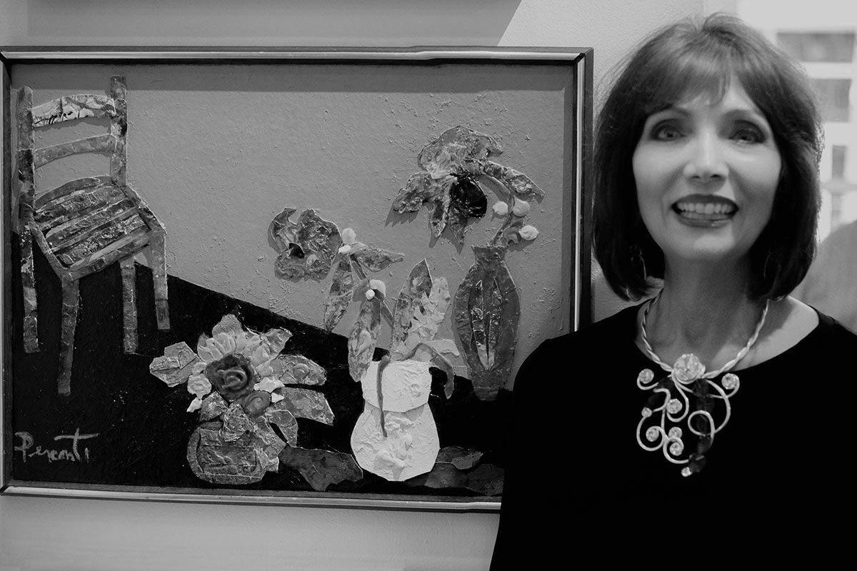 Dee Perconti and her collage.