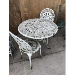 Two Seater Garden Table And Chairs French Bergere Chair Ottoman A White Painted Cast Metal Set Comprising 56 Circular