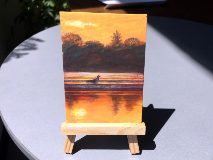 ACEO SUNSET GULL EASEL