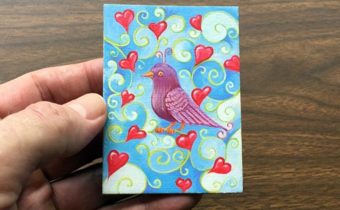 BIRD PURP HEARTS ACEO WEB