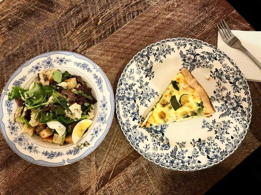 Salad and quiche at Maman Nomad