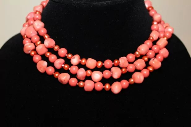 Coral Necklace wrapped three times=a choker